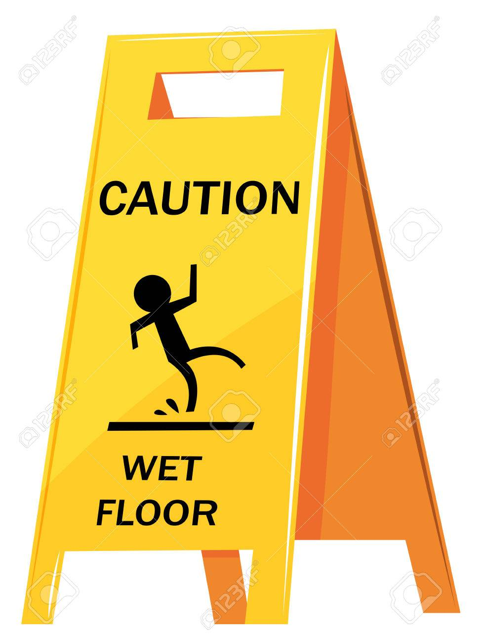 Caution sign warning about wet floor illustration.