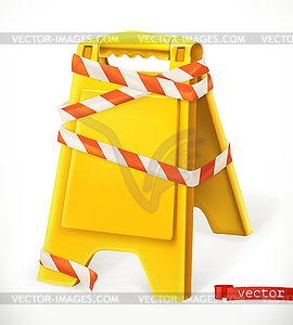 Safety sign. Caution wet floor sign. 3d icon.