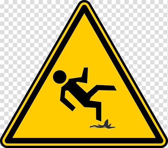 Falling Hazard symbol Risk Wet floor sign, peel transparent.