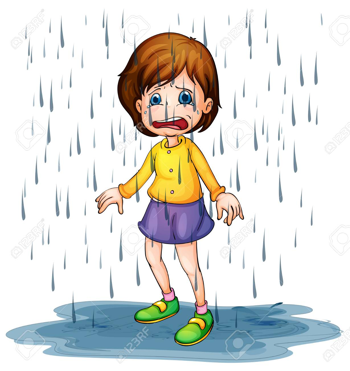 Sad girl standing in the rain illustration.