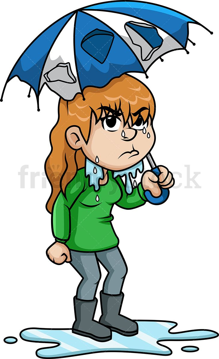 Upset Woman Getting Wet In The Rain in 2019.