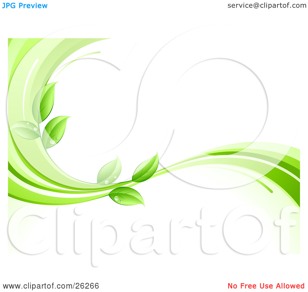 Clipart Illustration of an Organic Background Of Green Leaves Wet.