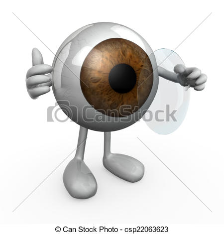 Clip Art of eye wearing a contact lens, 3d illustration.