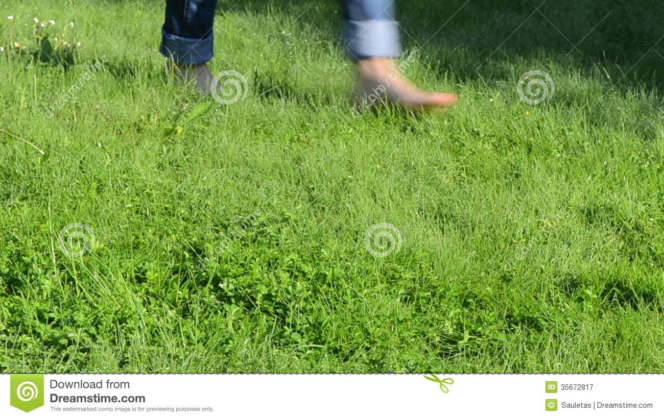 Barefoot Girl Grass Dew Stock Footage.