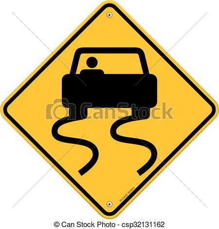 Clip Art Vector of Yellow Wet Road Sign.