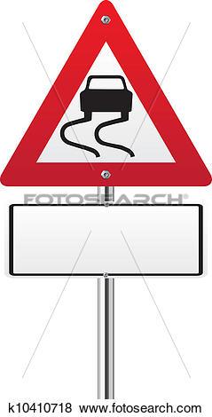 Clip Art of Wet road warning sign k10410718.