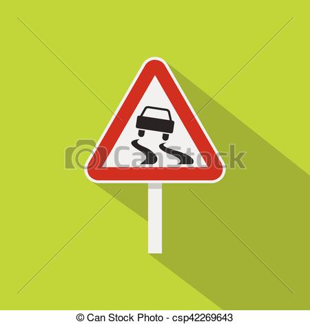 EPS Vector of Slippery when wet road sign icon, flat style.