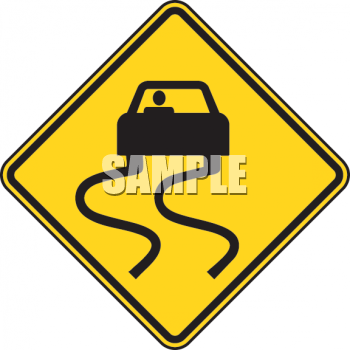 Classic Slippery When Wet Road Sign.