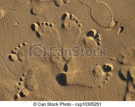 Stock Images of footprints in the wet sand csp10305251.