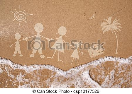 Clip Art of Summer family vacations, on wet sand texture.