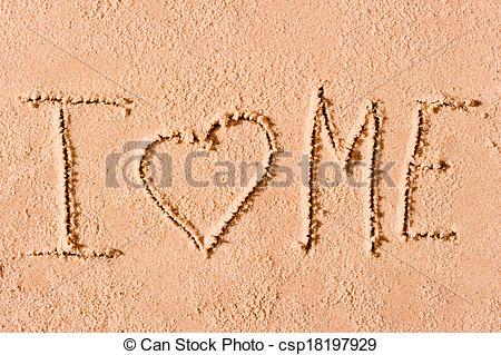 Clip Art of I love me written on wet sand csp18197929.