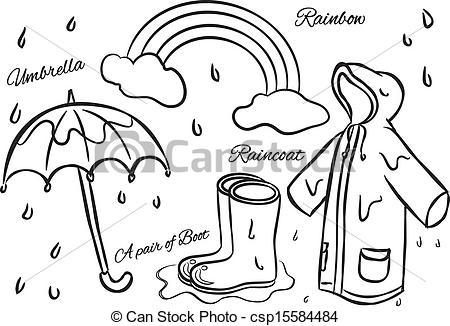 Vector of wet season doodle csp15584484.