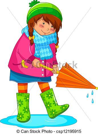 Vector Clip Art of rainy day.