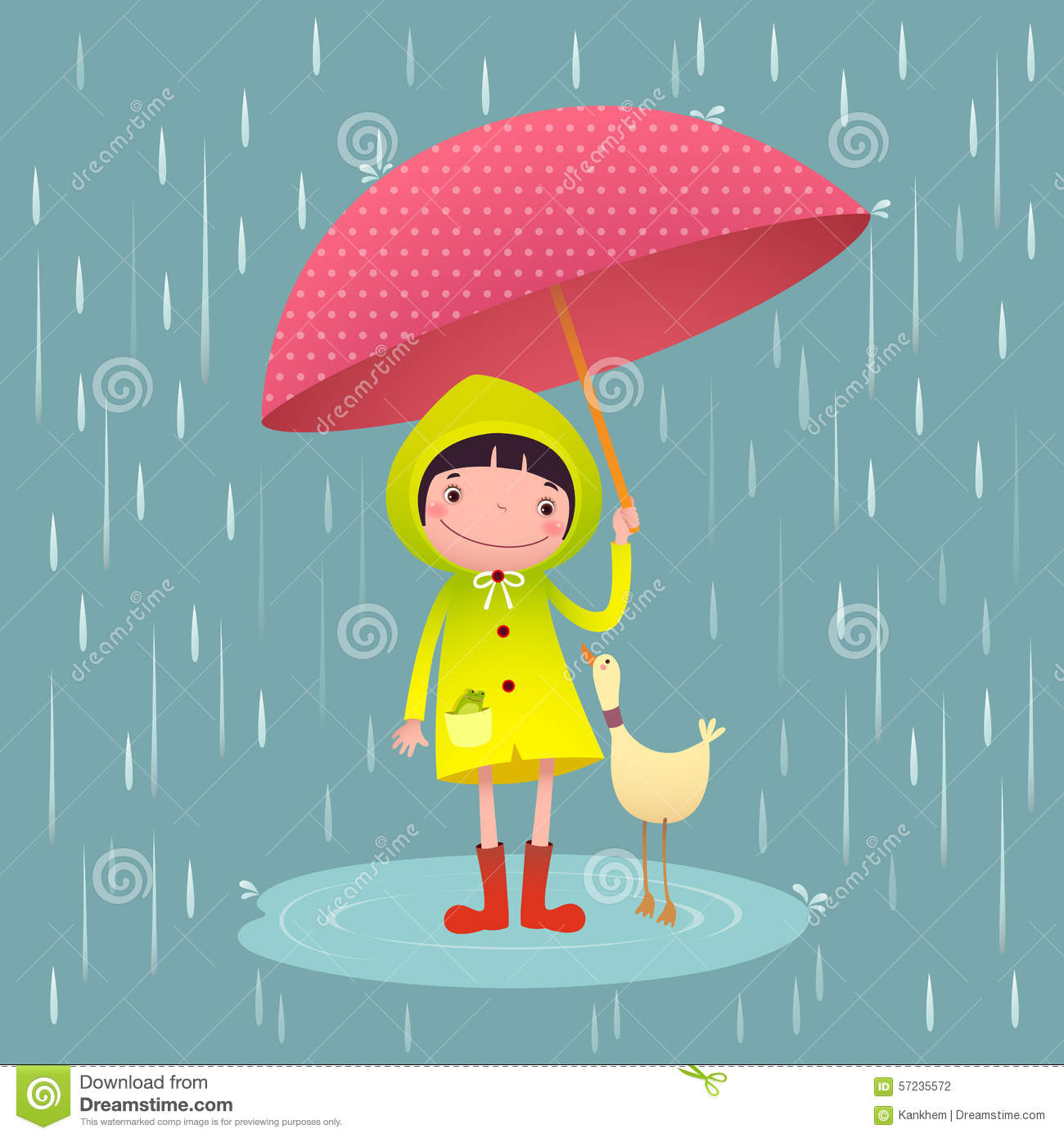 Cute Girl And Friends With Red Umbrella In Rainy Season Stock.