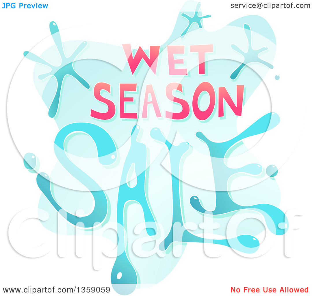 Clipart of a Wet Season Sale Design with Water.