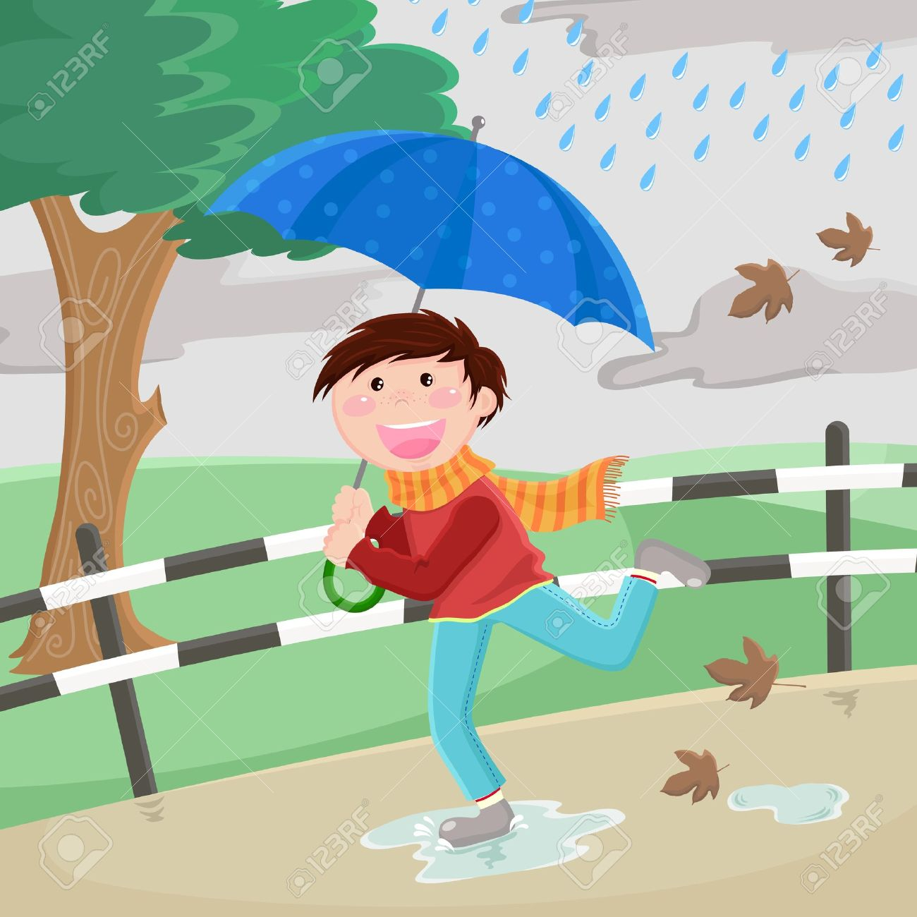Boy With Umbrella Running Happily In The Rain Royalty Free.