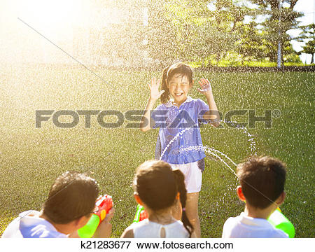 Picture of little girl Punishment for water gun spray to wet body.