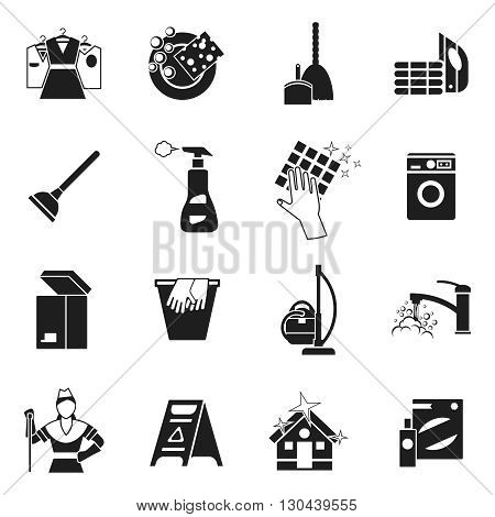 Cleaning black white icons set with spray woman wet floor sign.