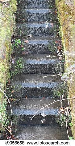Pictures of wet stone steps k9056658.