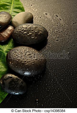 Pictures of wet stones massage.
