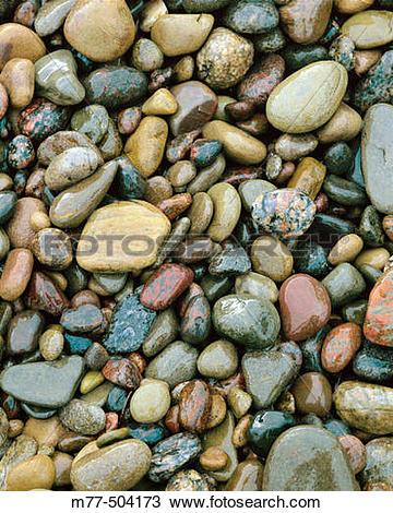 Stock Photo of Wet Stones. Sweden m77.