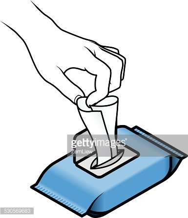 Using Wet Wipes Clipart Image.