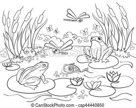 Clipart Vector of wetland landscape with animals coloring.