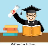 Kostuum, boek, diploma, student, afstuderen. Academisch.