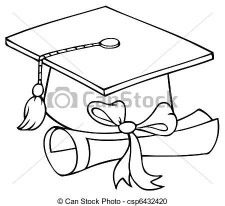 Pet, diploma, afstuderen. Geschetste, pet, diploma.