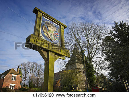 Stock Photography of England, Essex, Wethersfield, Village sign.