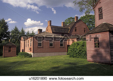 Stock Photography of Wethersfield, Connecticut, Colonial homes at.