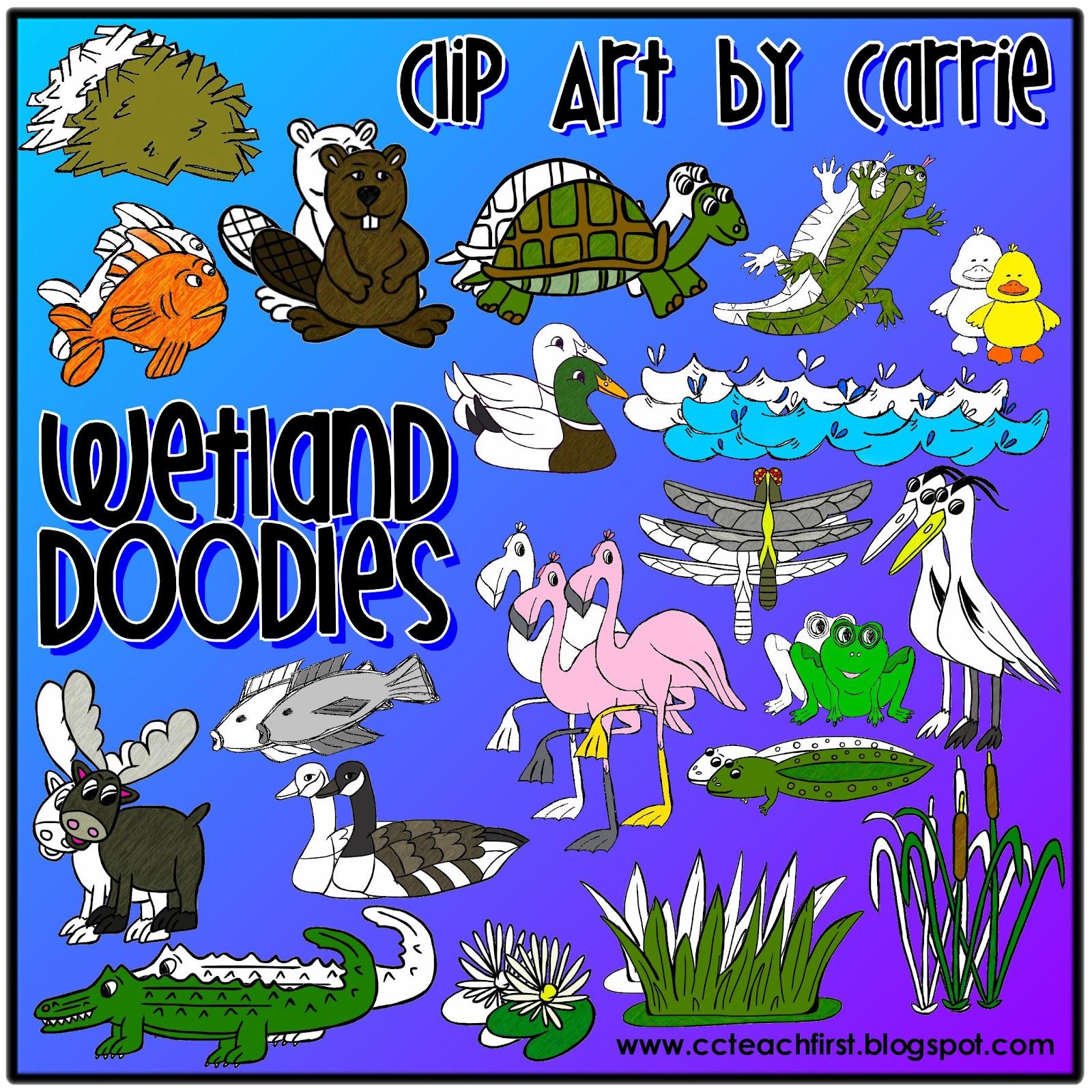 Clip Art by Carrie Teaching First: Wetlands Habitat Doodles.