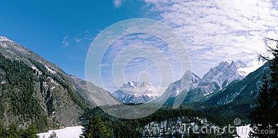 Winter Panorama Tyrol Alps Stock Photo.