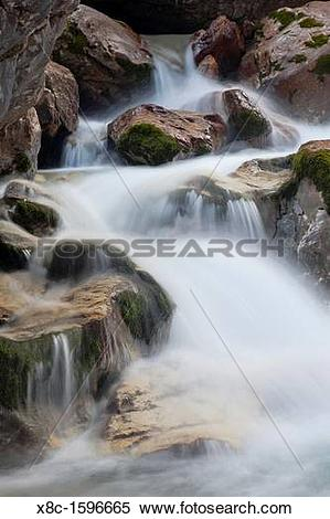 Stock Image of Valley Hoellental, Wetterstein mountain chain with.