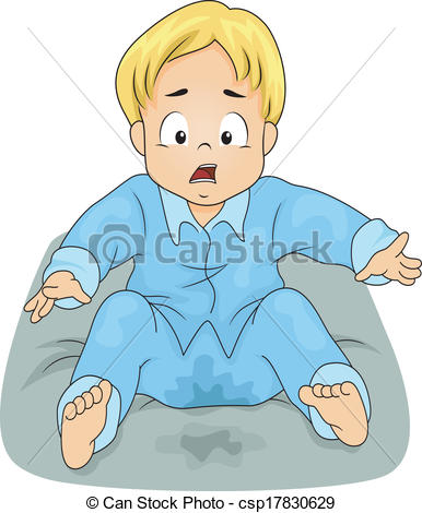 Vector Illustration of Bedwetting Boy.