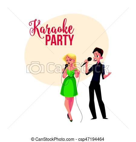 s�nger, banner, plakat, wettkampf, postkarte, paar, design, karaoke, party.