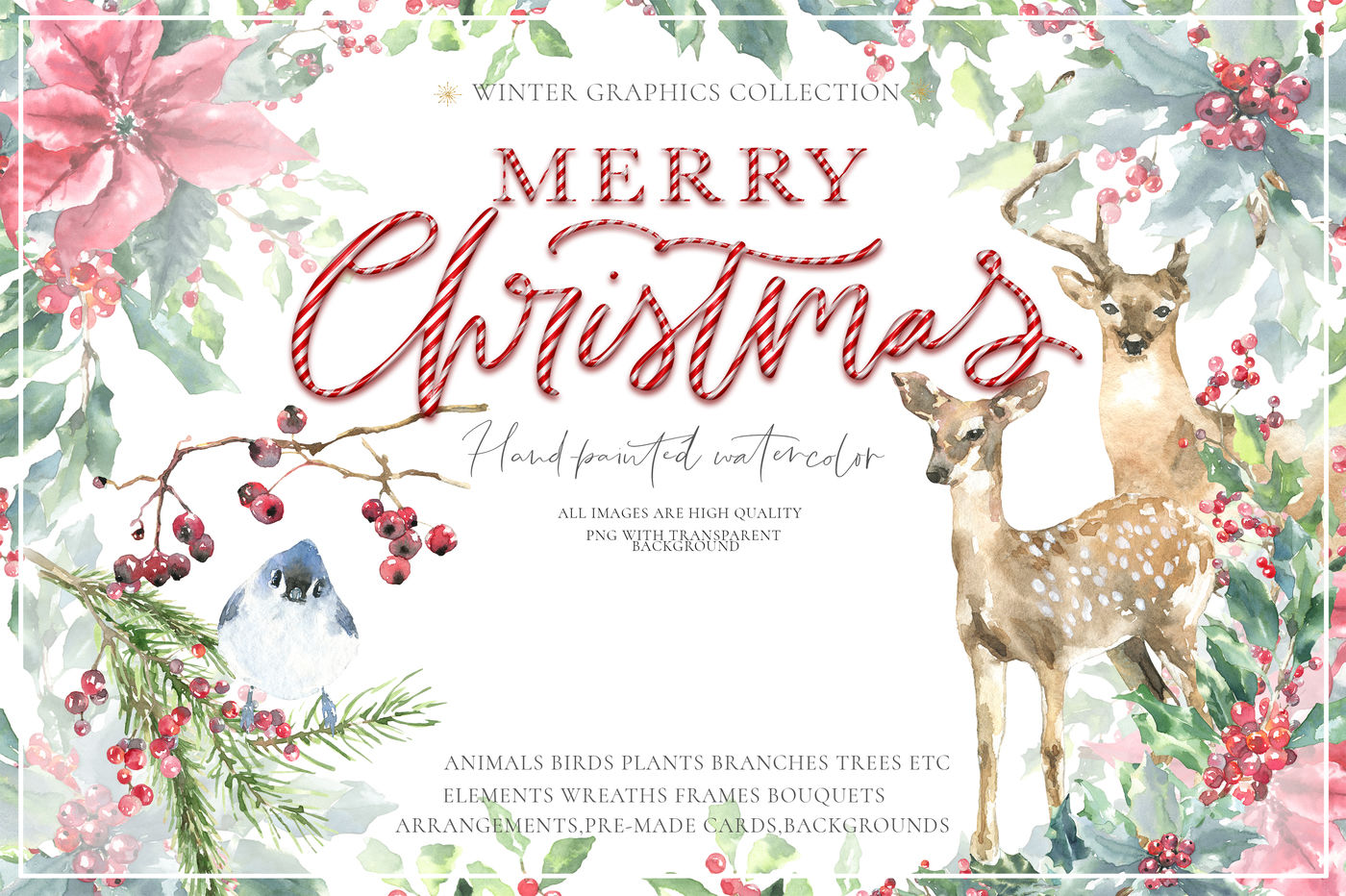Merry Christmas Watercolor Graphics clipart By Catherine.