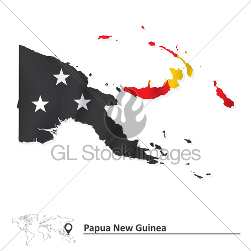 Map Of Papua New Guinea With Flag · GL Stock Images.