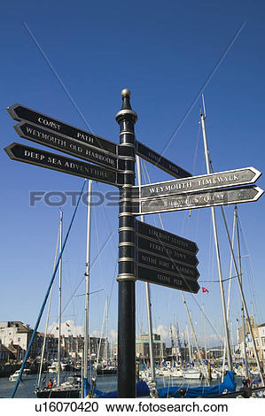 Stock Photography of England, Dorset, Weymouth, A signpost with.