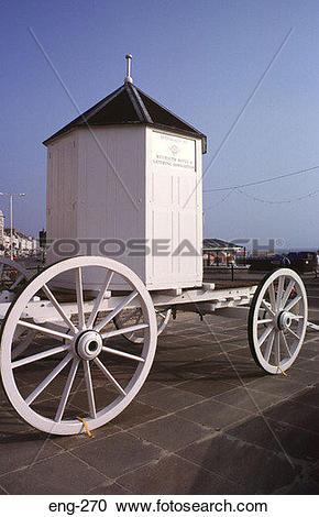 Stock Photography of Victorian Bathing Machine Weymouth Dorset eng.