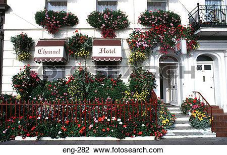 Stock Photo of Weymouth Hotel Front Covered with Flowers Dorset.