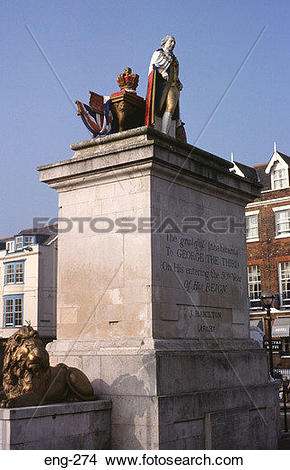 Stock Photo of King George III Monument Weymouth Dorset eng.