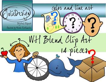 WH Blend Phonics Clip Art Set.