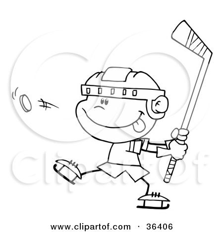Clipart Illustration of a Black And White Outline Of A Caucasian.