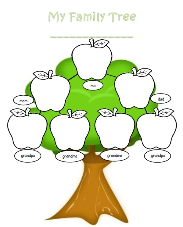 Family Tree 5 Members Clipart.