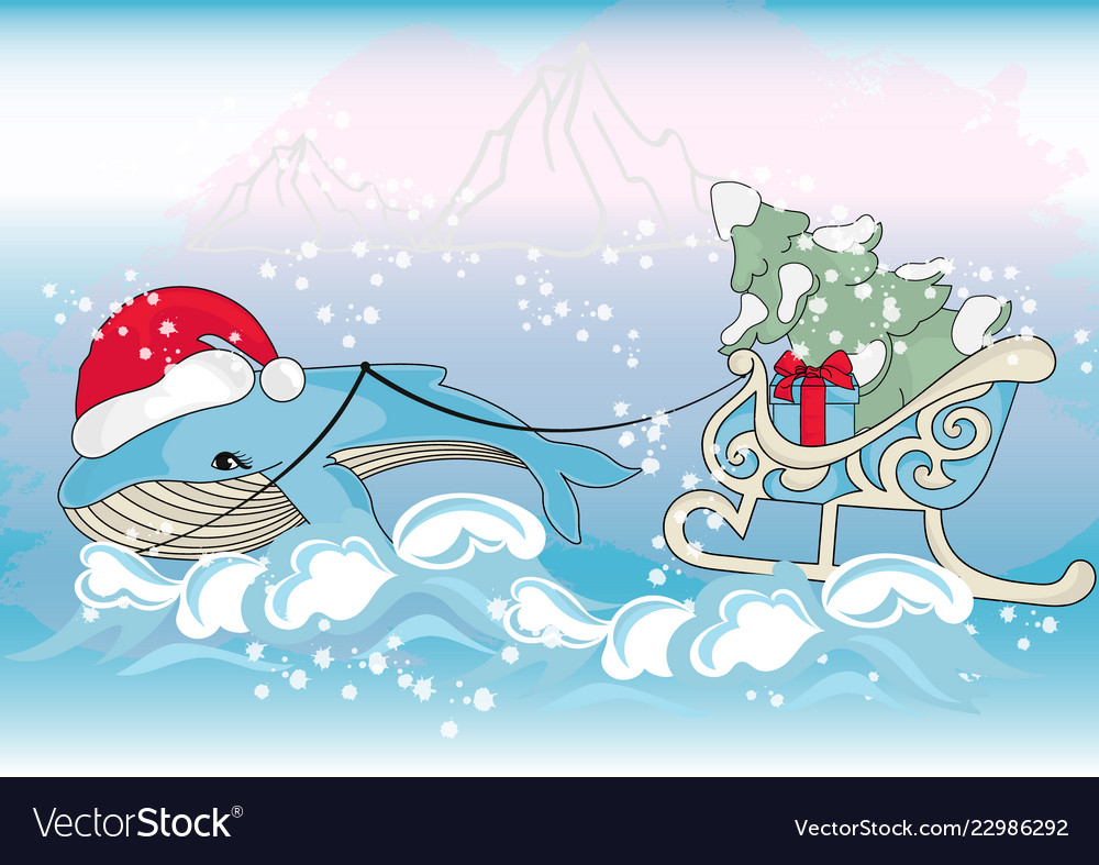 Whale christmas new year color.