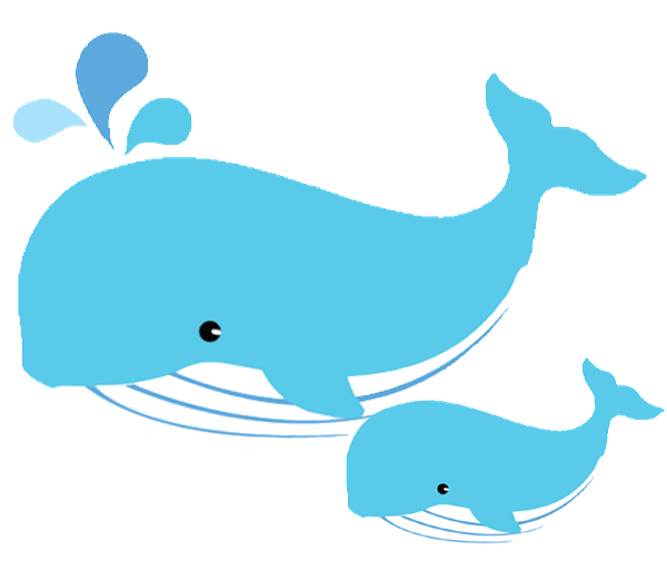 Mom and baby whale clipart.