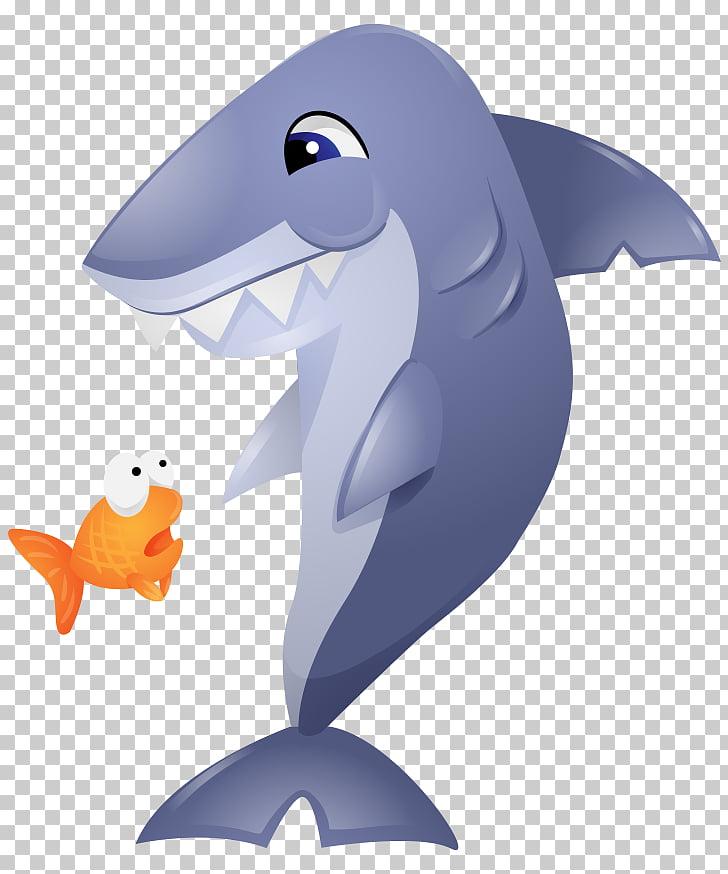 Shark Goldfish Dolphin , Painted yellow cartoon goldfish.