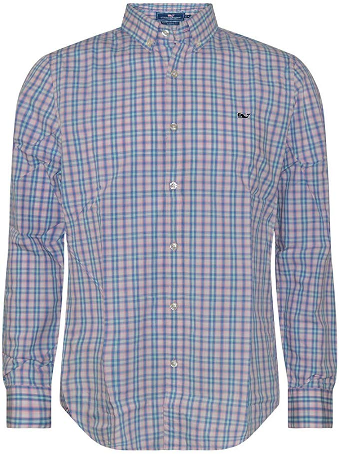 Vineyard Vines Men\'s Slim Fit Button Down Whale Dress Shirt.