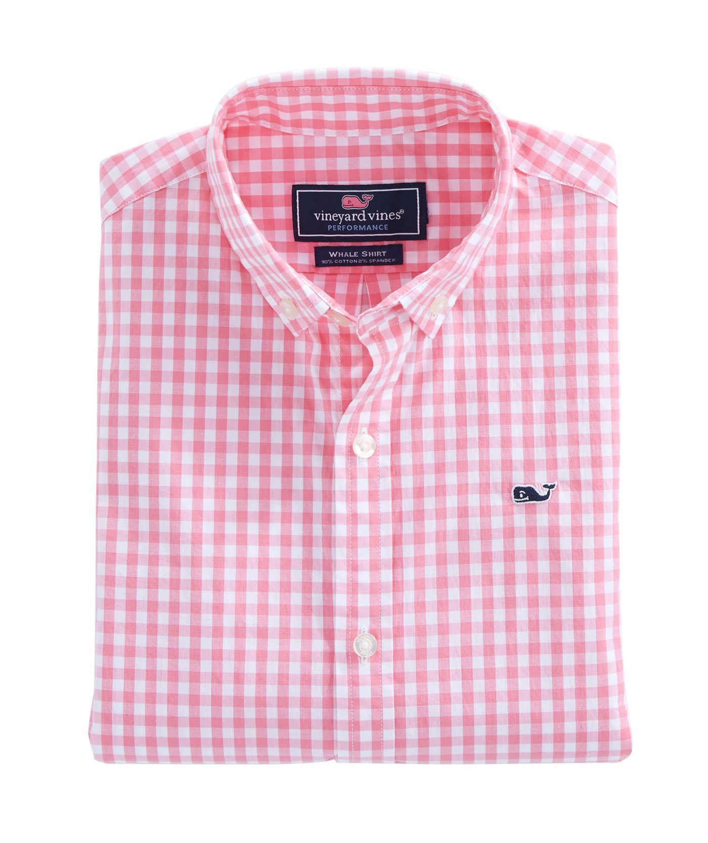 Boys Carleton Gingham Stretch Whale Shirt.